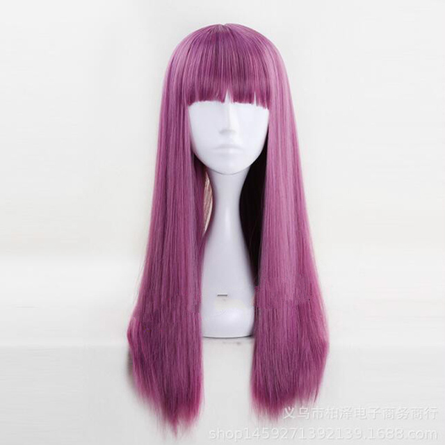 Descendants 2 Mal 60cm Purple Mix Straight Flat Bangs Synthetic Cosplay Wig  Womens Halloween Party Wigs aeda85aa1