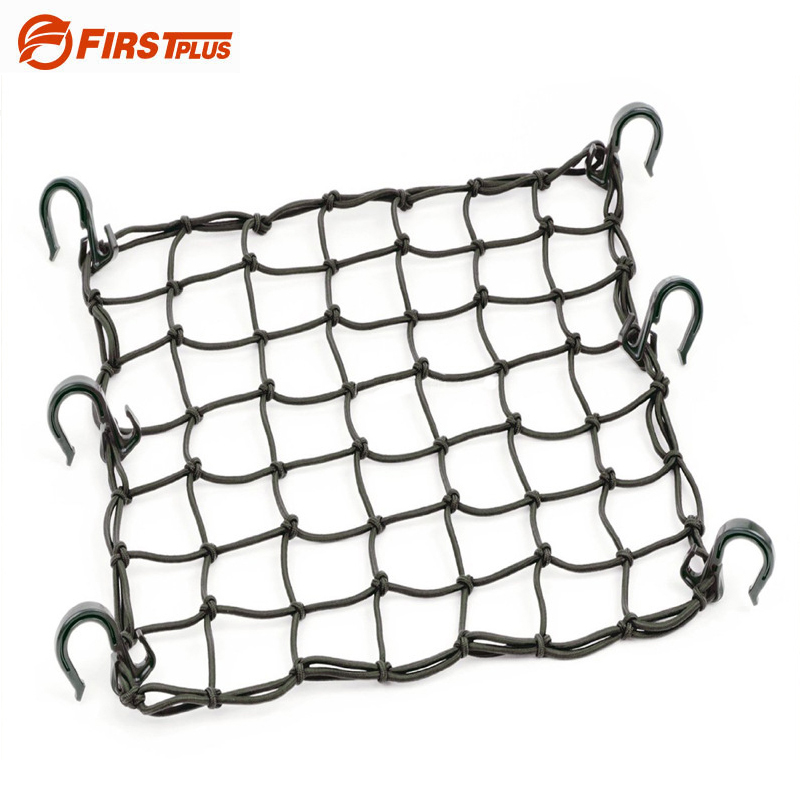 Net Styling Black 42x42cm latex Cargo Net featuring 6 Adjustable Hooks & Tight 2x2 Mesh For Motorcycle Helmet Cargo Oil tanker