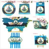 46 cái Thuyền Buồm theme giấy khăn ăn tấm cup mặt nạ món quà thẻ túi cho Trẻ Em Sinh Nhật Đảng supplies Bộ Đồ Ăn sail ship trang trí