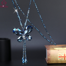 Korean Graceful Crystal Butterfly Pendant Long Tassel Necklace Women Fashion Joker Beads Strand Sweater Chain 2019 New Jewelry a suit of graceful multilayered beads sweater chain and earrings for women