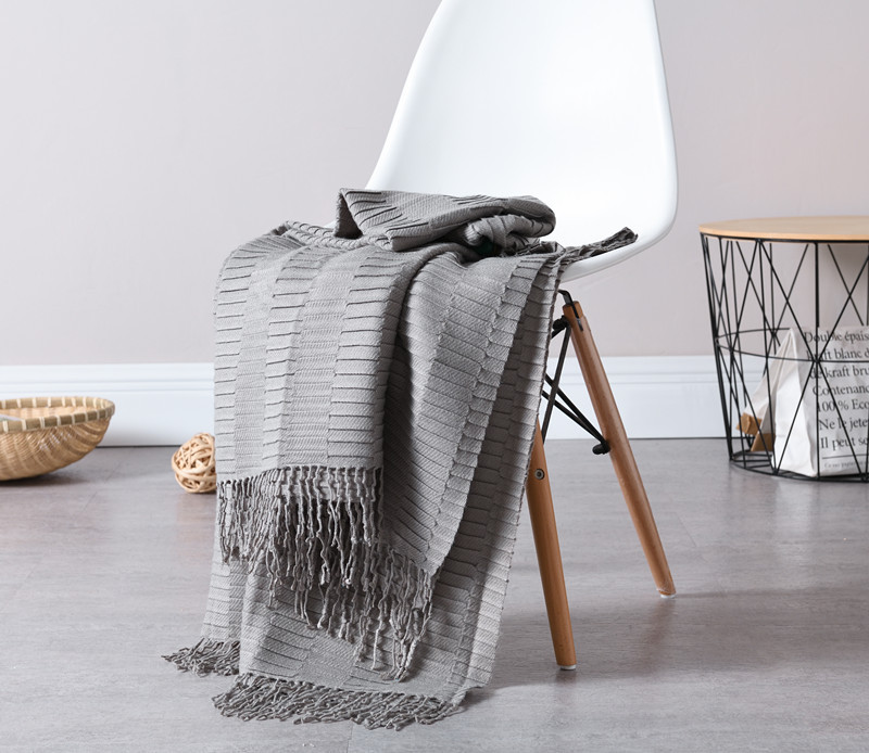 Waffle Blanket Weave Fringed Sofa Bed Cover Baby Throw Rug Slipcover 1.3*1.6m Choice Materials Smart Electronics