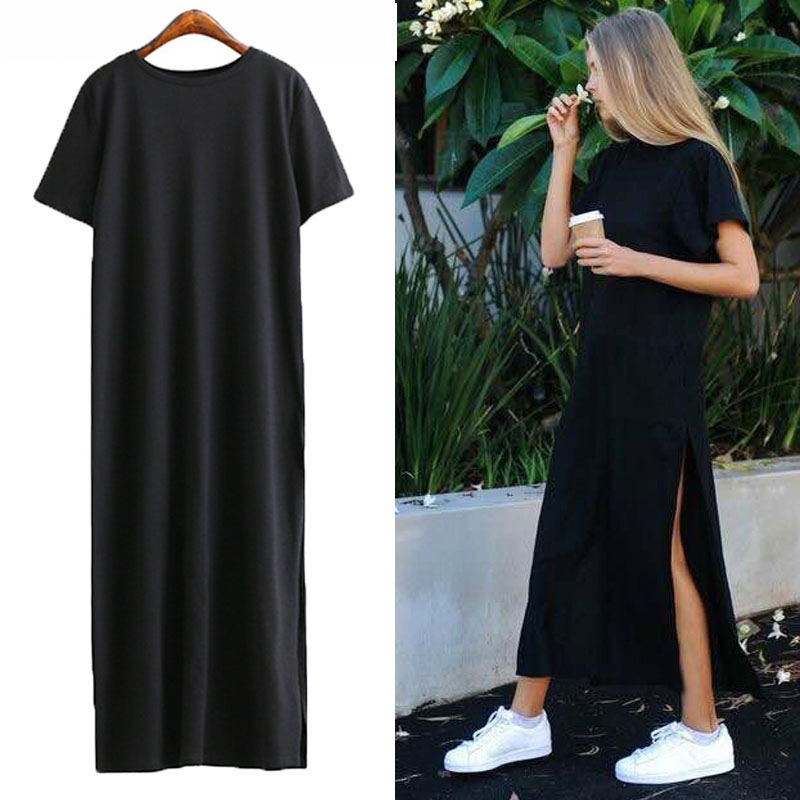 Summer Long T Shirt Women Black T-shirt Sexy Side Slit Short Sleeve Big Size Thin Long Women Tops Tees Female Tshirt
