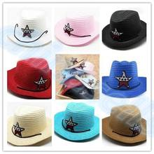 1pcs Child travel summer star hat SUV sun cap west cowboy baby kid fishing beach visor hat outdoor sport large brimmed Strawhat