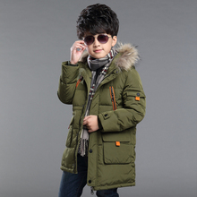 2016 new winter long section of cotton boys big virgin Korean children winter thick feather padded cotton jacket