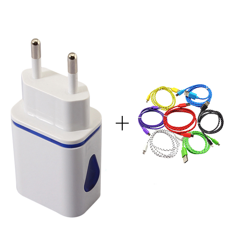 Universal EU LED Dual USB Wall Charger with Micro USB Cable Home Travel Adapter Fast Charging For iphone Samsung xiaomi huawei