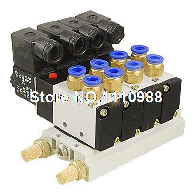 DC 12V 5/16 Quick Fitting 2 Position 4 Solenoid Valve w Base Muffler free shipping triple solenoid valve 4v210 08 2 position base muffler connect 6mm 8mm quick fitting valves set 1 4 bsp