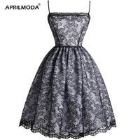 Black Lace Women Dress Gothic Retro Vintage Spaghetti Strap Casual Party Swing Dresses Sleeveless Plus Size Rockabilly Vestidos