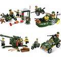 Serie militar diy bloques de construcción de alta suelo anti-aircraft gun chariot building block niños juguetes educativos compatible legoe