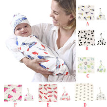 Newborn Infant Baby Swaddle Blanket Sleeping Swaddle Muslin Wrap Hat Set new born photography 0-3 months baby wrap F1(China)