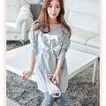 Venta CALIENTE de calidad de la marca otoño primavera de algodón de color Puro simple mujeres pijamas conjuntos pijamas de mujer para las mujeres más tamaño hembra