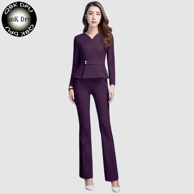 91cd18eb6f3 black New Fashion spring Autumn 2 piece Suits Professional tops And Pants  Business Women Flared Trousers Sets Female Pantsuit