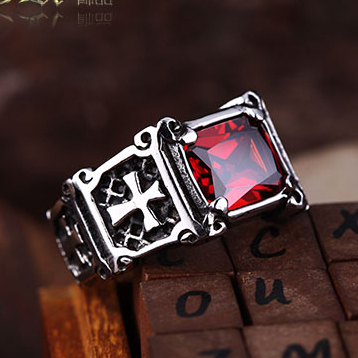 JHNBY High quality men s steampunk Rings 316L Titanium steel cross AAA Zircon Red Finger Ring
