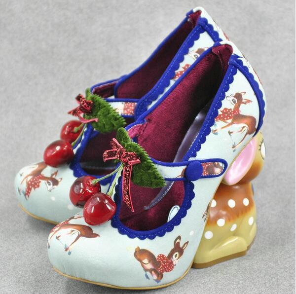 Cute Irregular Little Deer Heel Pumps Bckle Strap Embellished Printing Leather Dress shoes woman Double Cherries High Heel shoes