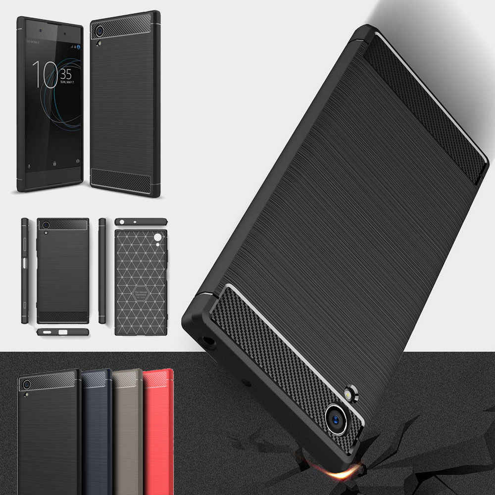 Carbon Fiber Texture Case For Sony Xperia XA1 XA2 Ultra XA2 Plus Soft TPU Case For Sony XZ3 XZ1 Compact XZ2 Premium L1 L2  Cover
