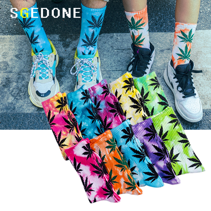 2018 High-quality Tie-dyed Maple Leaf   Socks   Long Fashion Weed   Socks   Men Skateboard Hiphop   Socks   Meias Women Couple   Socks   1 Pairs