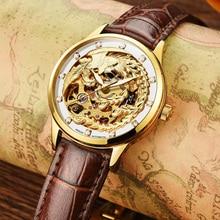 LuxuryAESOP золотые часы женщины скелет кожа Автоматические механические Сапфир кожа водонепроницаемые часы relógio женственной
