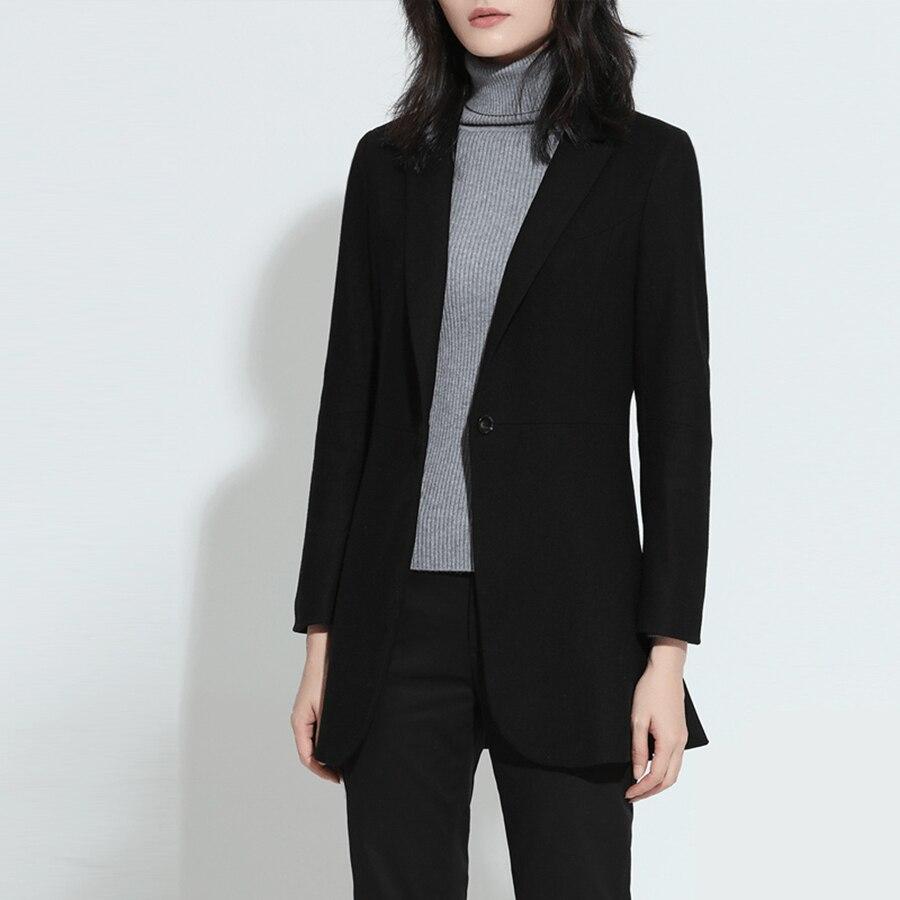 春秋のロングブレザー女性ウール黒スリムフィットファッションレディースブレザー長袖jaqueta女性オフィス制服70 × 002