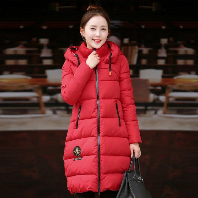 ФОТО Winter Thickening Women Parkas Women's Wadded Jacket Outerwear Fashion Cotton-padded Jacket Medium-long Coat Army Green New