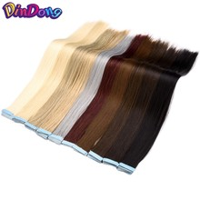 DinDong Pre Bonded BrownSynthetic Hair Extension Silky Straight Professional Salon Fusion Invisible Tape In Hair Skin Weft 40pcs(China)