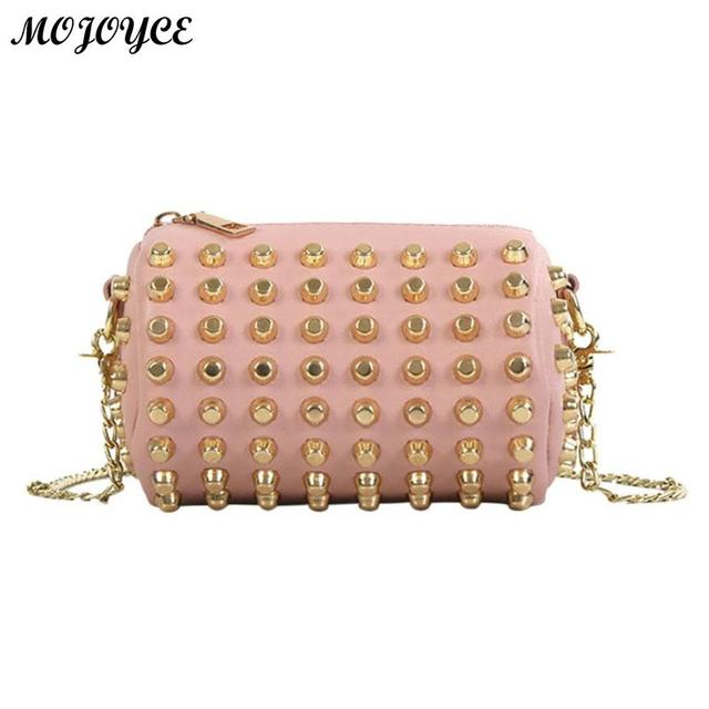 26cc0578572e Women Rivets Chain Handbag Cylinder Fashion Mini Girl Shoulder Bag Kids  Portable Famous Brand High Quality