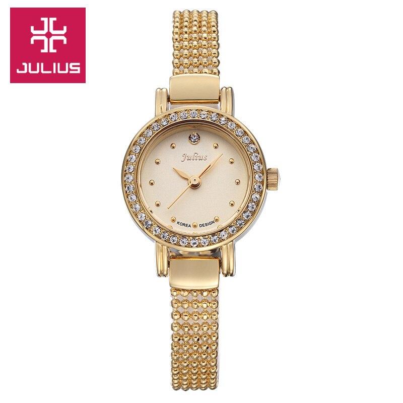 New Julius Lady Woman Wrist Watch Quartz Hours Best Fashion Dress Beads Bracelet Rhinestone Business Girl