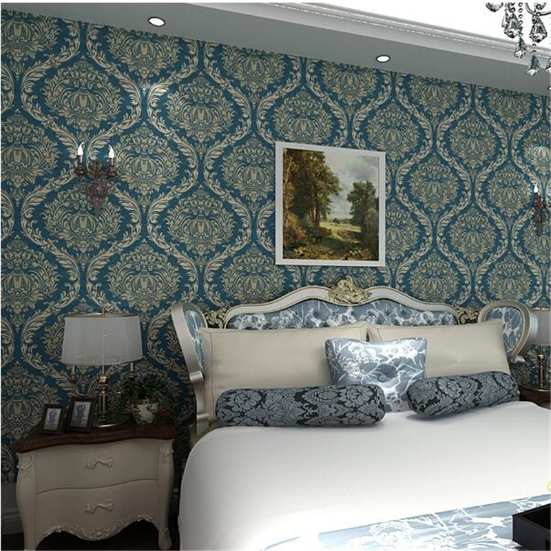 beibehang 3D Stereo Continental Luxury Damascus Wallpaper Living Room TV Backdrop Bedroom Green Wall paper papel de parede beibehang papel de parede 3d dimensional relief korean garden flower bedroom wallpaper shop for living room backdrop wall paper