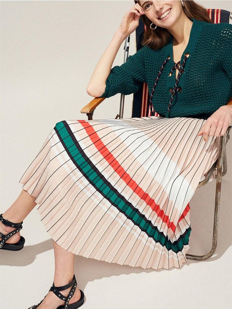 Women s Skirt New 2019 Summer Elastic Waist Organ Pleated Striped Women Brand Clothing