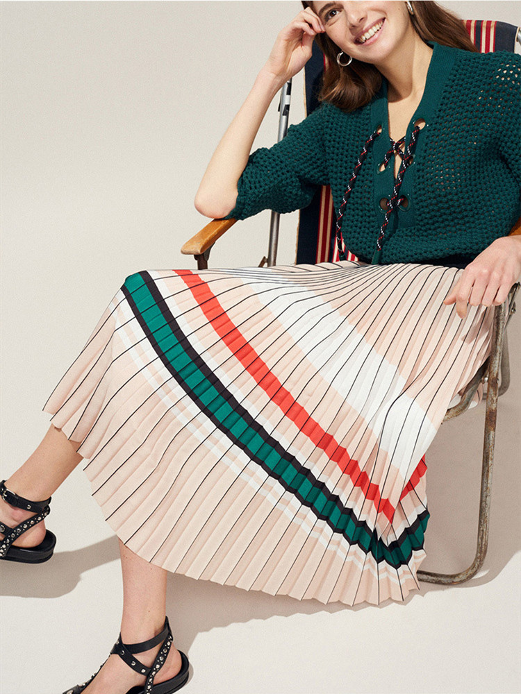Women's Skirt New 2019 Summer Elastic Waist Organ Pleated  Striped Women  Brand Clothing-in Skirts from Women's Clothing    1