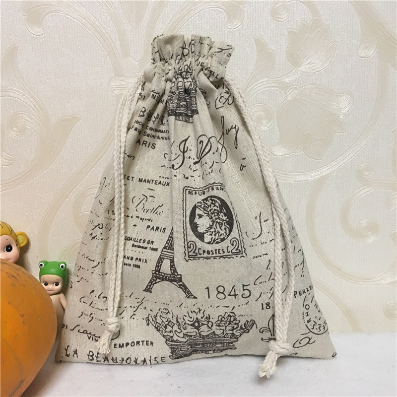 YILE Party Favor Cotton Linen Drawstring Multi-purpose Organizer Gift Bag Eiffel Town Crown 8123F
