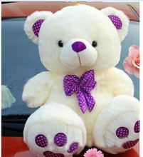 lovely teddy bear toy purple bow high quality stuffed bear toy gift doll about 60cm