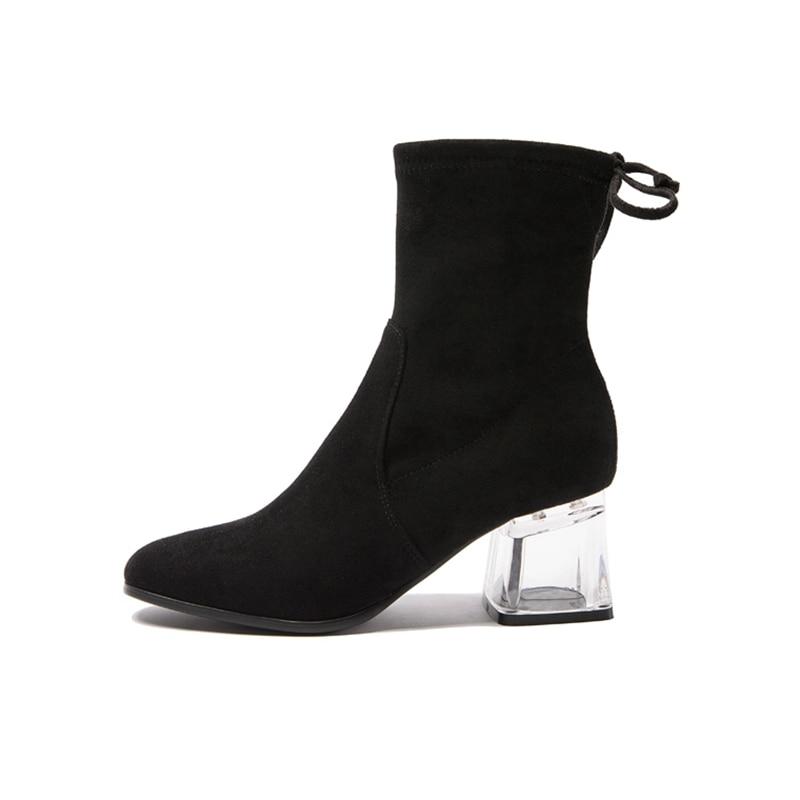Femme Chaussures D'hiver Enmayer Black Talons Pour Bottes Femmes Épais Lacets Cr1741 Suede À Cheville gray Kid Bout Pointu Bottines byYvf6g7