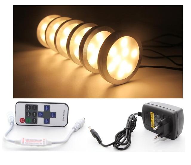 onder kast led verlichting 6 lampen set met draadloze rf afstandsbediening voor keuken kast teller plank