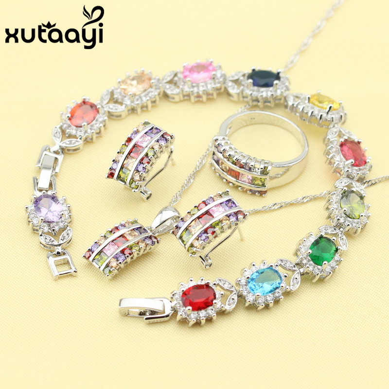 Fashion 925 Silver Jewelry Sets For Women Multicolor Stones Cubic Zirconia Superb Necklace Rings Earrings Bracelet Free Box