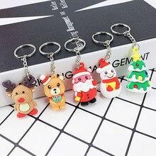 Creative PVC soft cute Santa Claus, snowman, elk keychain lady bag Christmas car alloy pendant
