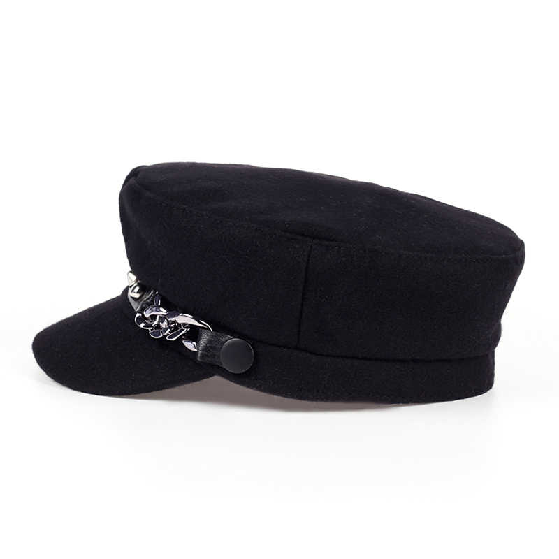 e6fb28f8757 ... 2017 new Military Hat Winter Knitted Cap Flat Top Hats For Women rivet Black  Grey Male ...