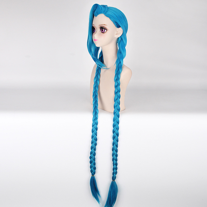 Coshome LOL Jinx Cosplay Wigs Women Blue Double Ponytail Braids Girls Long Hair 120cm For Halloween Party