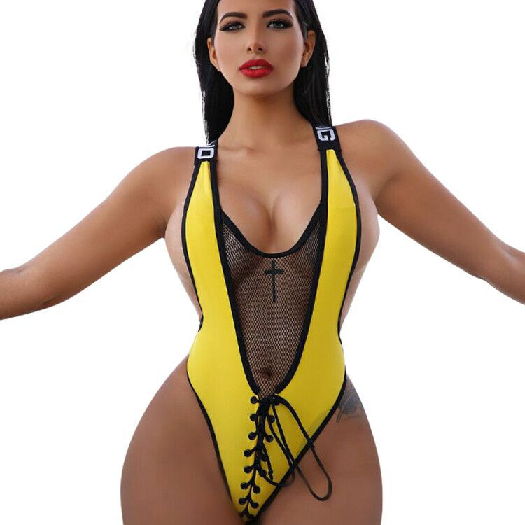 Women Summer Plus Size Romper Beach Swimsuit Bodycon Patchwork Mesh Bodysuit Backless Lace Up Jumpsuit See Through Sexy Playsuit