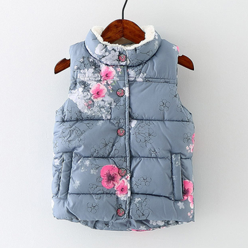winter girl fur down vests Kids Vest for girls Sleeveless Jacket  children clothes baby Thick Outerwear Cotton Floral Waistcoat 2019 floral festival baby girls long sleeve dress winter warmer girl down jacket dresses children cheongsam outwear blouses