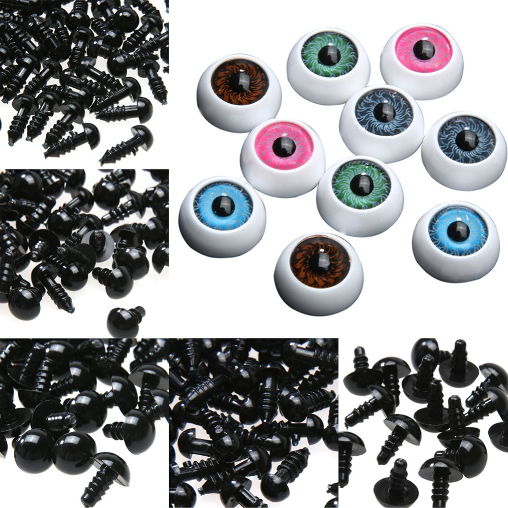 Plastic Safety Eyes for DIY  Stuffed Toy Snap Animal Puppet Doll Craft