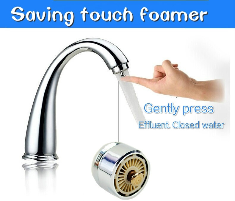Tap Touch Type Stainless Steel Kitchen Faucet 360 Degree Rotation Water saving Water Antibacterial Bubble Device