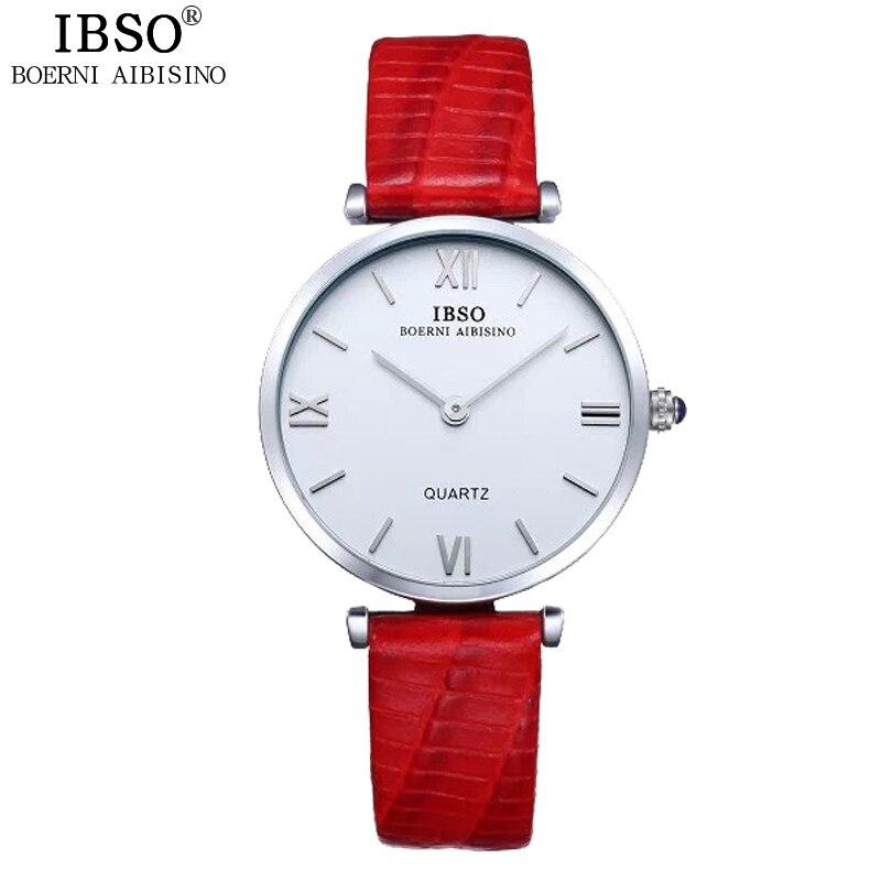 IBSO Brand Watches Ladies Wristwatches Luxury Red Genuine Leather Strap Quartz Clock Women Watches 2017 Relogio Feminino #B2210L forsining fashion women quartz watch genuine leather strap luxury ladies rhinestone watches women s skeleton blue wristwatches