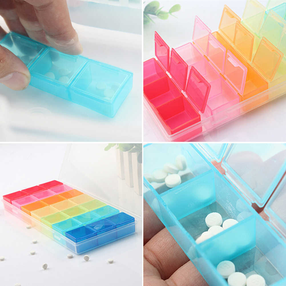 1PCS 7 Day Pill Medicine Tablet Pillbox Dispenser Pill Box Container For Medicines Organizer Case With 21 Compartments