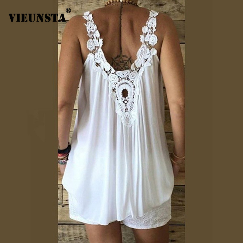 VIEUNSTA Hollow Out Lace Patchwork   Blouse     Shirt   Women Sexy Sleeveless V-neck Loose Summer Blusa Plus Size Women   Blouses   And Tops