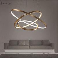 40CM 60CM 80CM Modern Pendant Lights For Living Room Dining Room Circle Rings Acrylic Aluminum Body
