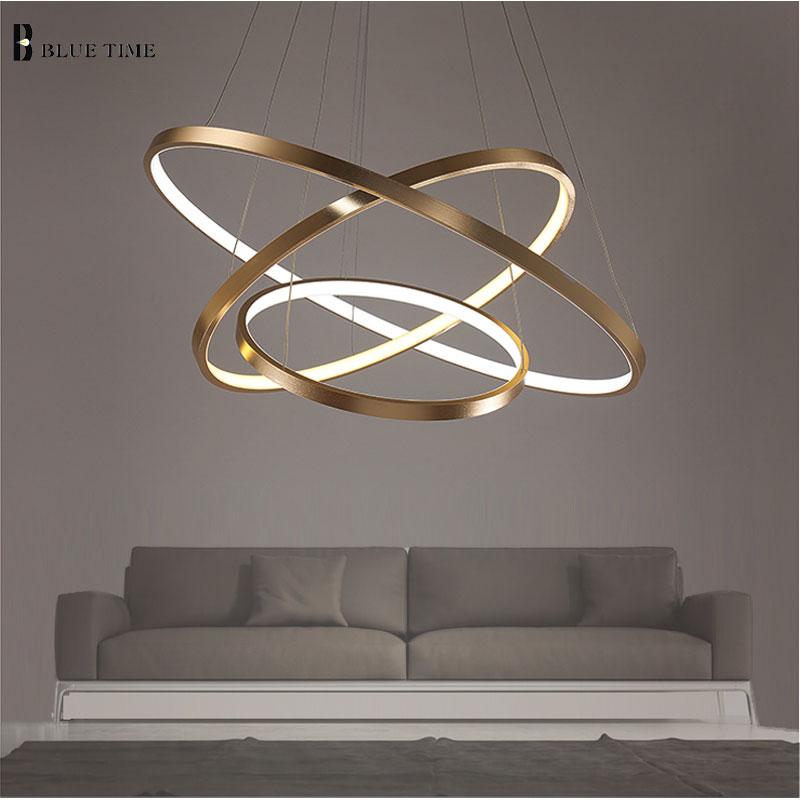 40CM <font><b>60CM</b></font> 80CM Modern Pendant Lights For Living Room Dining Room Circle Rings Acrylic Aluminum Body <font><b>LED</b></font> Ceiling Lamp Fixtures