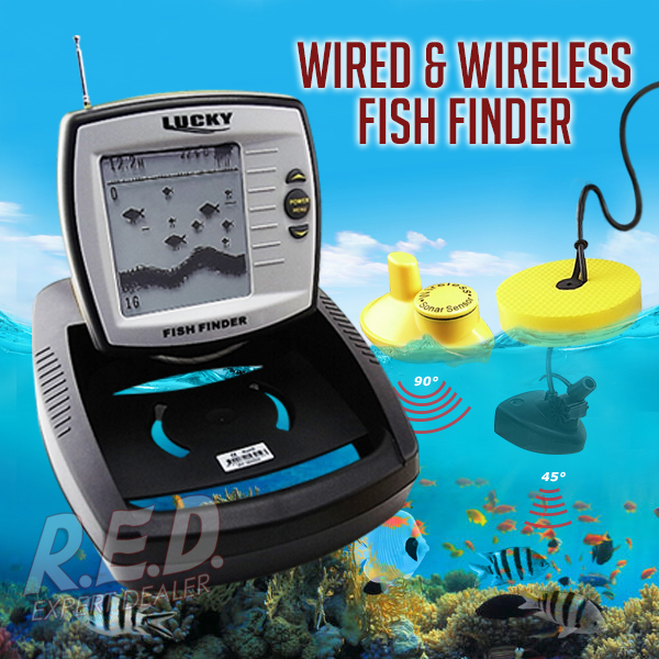 FF-918 LUCKY 2in1 Wireless Wired Fish Finder Adjustable Dot Matrix 100m Wired 40m Wireless Built-in Water Temperature Sensor lucky ff1108 1c portable 2 in 1 wireless