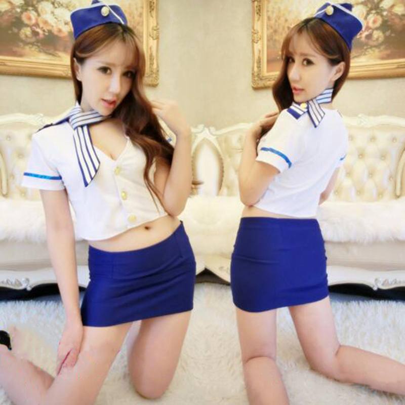 Fashion Temptation Sexy Sailor Uniforms Cosplay Costume Summer Flight Attendant Uniforms Role Play Sexy Costume image
