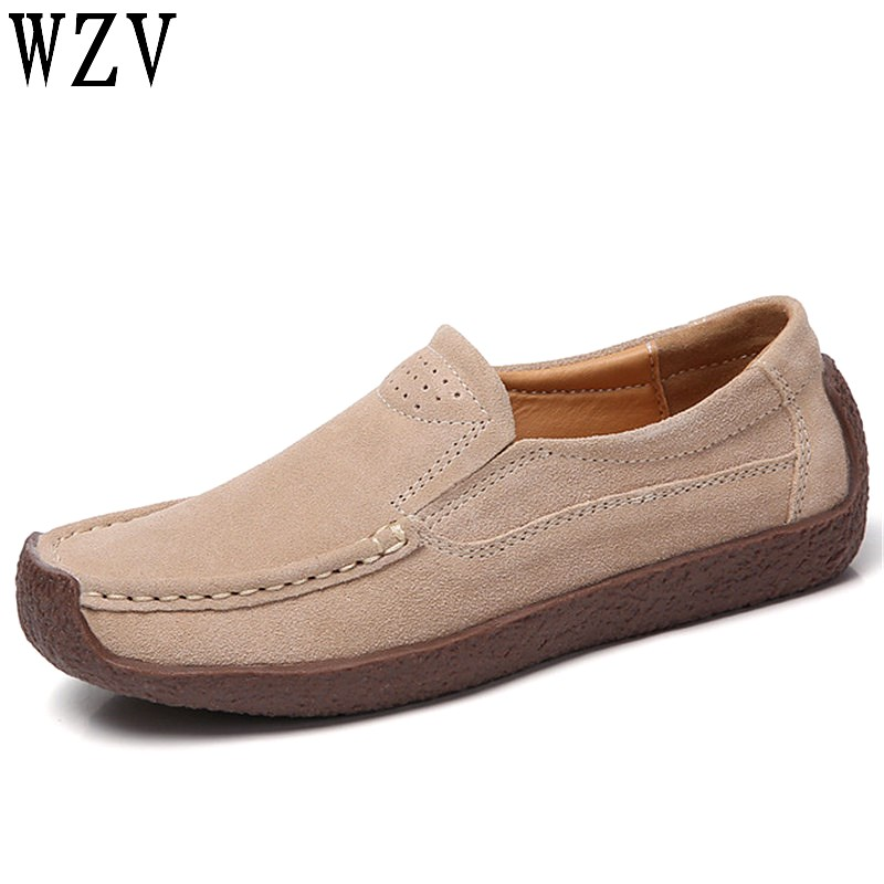 2019 spring women flats shoes sneakers shoes   leather     suede   casual shoes woman slip on flats heels creepers moccasins C431