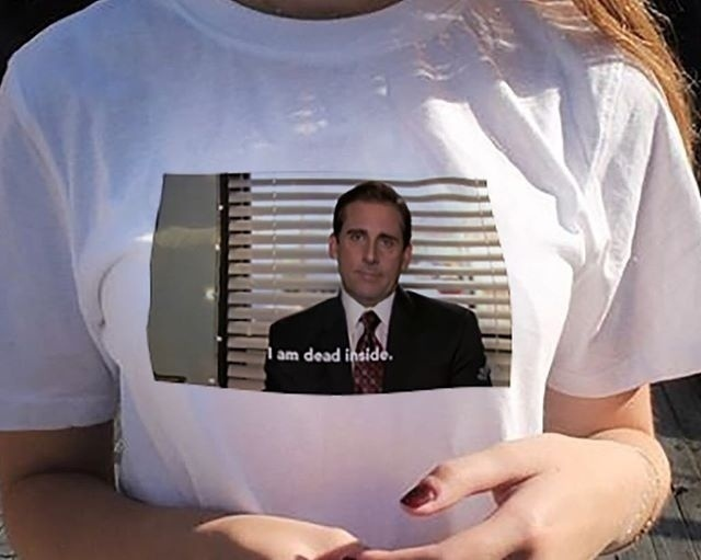 abef6fb2fb20 PUDO JBH The Office Michael Scott I Am Dead Inside Quotes Funny T Shirt  Unisex Tumblr Grunge Fashion White Tee-in T-Shirts from Women s Clothing on  ...