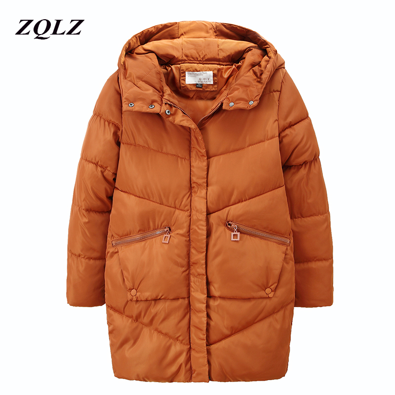 ZQLZ Fashion Hooded Cotton Coat Woman 2018 New Warm Slim Black Pedded Winter Jacket Women Casual Long Parka Mujer